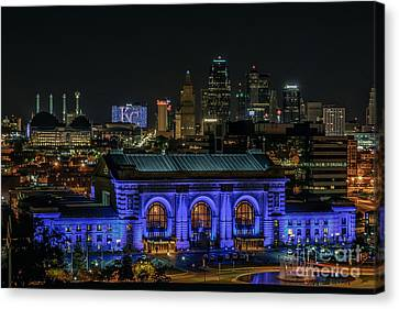 Kansas City In Royal Blue Canvas Print