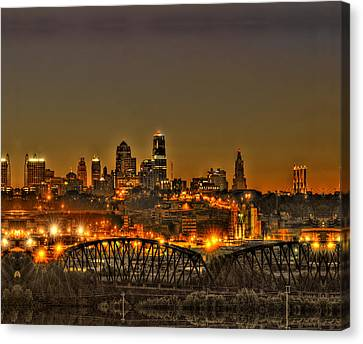 Kansas City Missouri At Dusk Canvas Print by Don Wolf