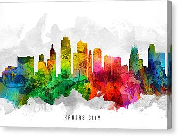 Kansas City Missouri Cityscape 12 Canvas Print by Aged Pixel