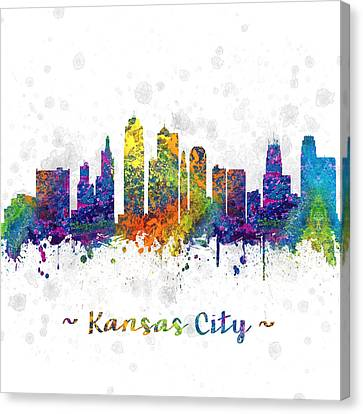 Kansas City Missouri Color 03sq Canvas Print by Aged Pixel