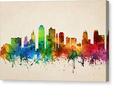 Kansas City Canvas Print - Kansas City Missouri Skyline 05 by Aged Pixel