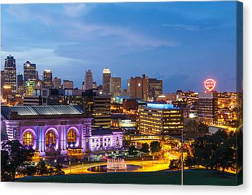 Kansas City Night Sky Canvas Print by Steven Bateson