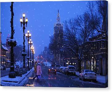 Kansas City Plaza At Christmas Time Canvas Print by Gillham Studios