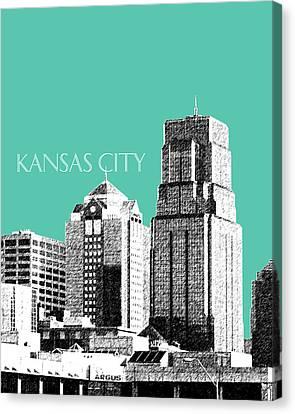 Kansas City Skyline 1 - Teal Canvas Print by DB Artist