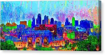 Kansas City Skyline 200 - Da Canvas Print