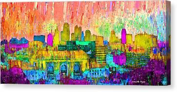 Kansas City Skyline 201 - Da Canvas Print by Leonardo Digenio