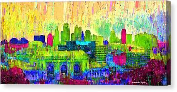 Landmark Canvas Print - Kansas City Skyline 202 - Da by Leonardo Digenio