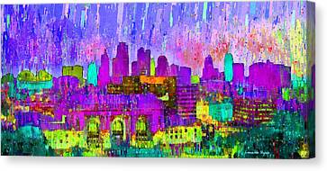 Kansas City Skyline 203 - Pa Canvas Print by Leonardo Digenio