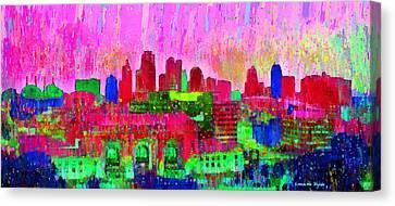 Kansas City Skyline 204 - Pa Canvas Print by Leonardo Digenio