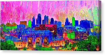 Night Canvas Print - Kansas City Skyline 205 - Da by Leonardo Digenio