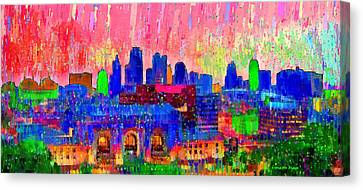 Kansas City Skyline 206 - Pa Canvas Print