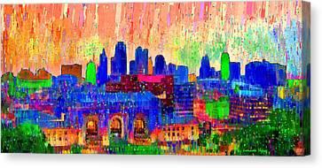 Kansas City Skyline 207 - Pa Canvas Print by Leonardo Digenio