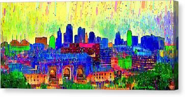 Kansas City Skyline 208 - Da Canvas Print by Leonardo Digenio