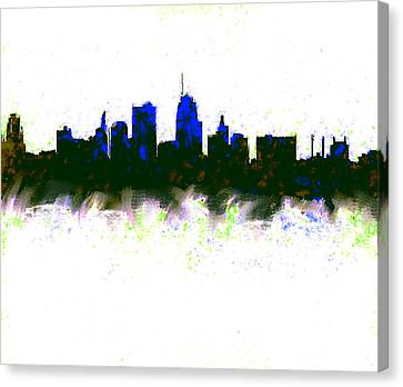 Kansas City Skyline Blue  Canvas Print by Enki Art