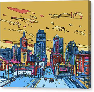 Park Scene Canvas Print - Kansas City Skyline Panorama 3 by Bekim Art