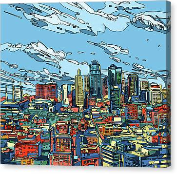 Park Scene Canvas Print - Kansas City Skyline Panorama by Bekim Art