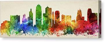 Kansas City Skyline Panorama Usmokc-pa03 Canvas Print