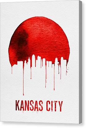 Kansas City Skyline Red Canvas Print by Naxart Studio