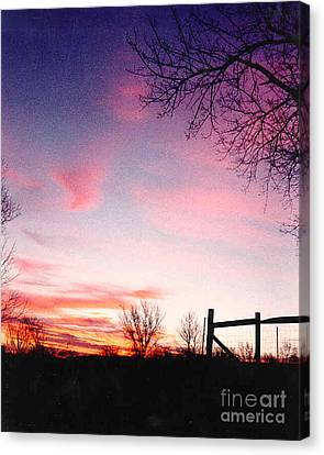 Kansas Sunrise With Fence Canvas Print