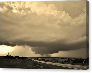 Canvas Print featuring the photograph Kansas Twister - Sepia by Ed Sweeney