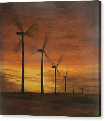 Kansas Wind Farm Canvas Print by Marti Idlet
