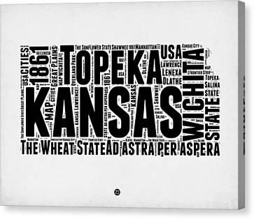 Kansas Word Cloud Map 2 Canvas Print by Naxart Studio