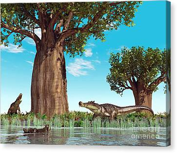 Kaprosuchus Crocodyliforms Canvas Print by Walter Myers