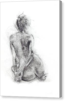 Black And White Human Figure Drawing Canvas Print - Karen - Sitting by Christopher Williams