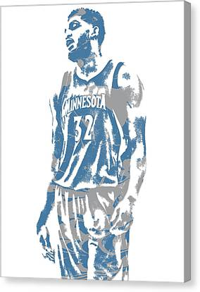 Karl Anthony Towns Minnesota Timberwolves Pixel Art 6 Canvas Print