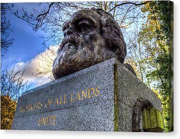 Karl Marx Memorial Statue Highgate London Canvas Print by David Pyatt