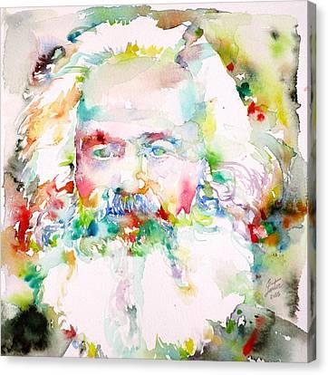 Karl Marx - Watercolor Portrait Canvas Print by Fabrizio Cassetta