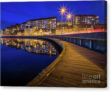 Karlskrona By Night Canvas Print by Inge Johnsson