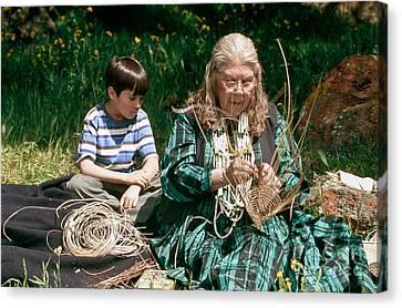 Kashia Pomo Woman Weaving Canvas Print