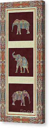 Kashmir Elephants - Vintage Style Patterned Tribal Boho Chic Art Canvas Print by Audrey Jeanne Roberts