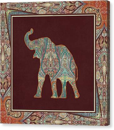 Kashmir Patterned Elephant 3 - Boho Tribal Home Decor Canvas Print by Audrey Jeanne Roberts