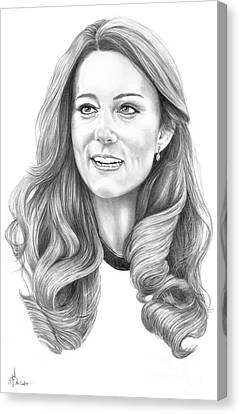 Kate Middleton Catherine Duchess Of Cambridge Canvas Print by Murphy Elliott