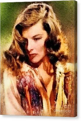 Katharine Hepburn, Hollywood Legend By John Springfield Canvas Print by John Springfield