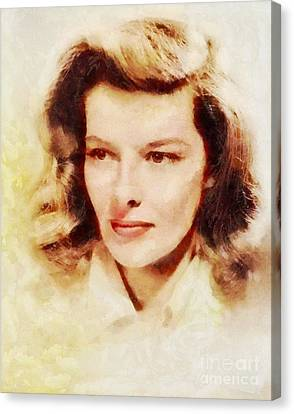Katharine Hepburn, Vintage Hollywood Legend Canvas Print by Sarah Kirk