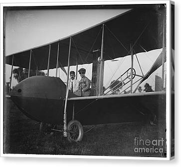 Katharine Wright Wearing Leather Jacket Cap Goggles Aboard Wright Model Hs Airplane With Orville Canvas Print