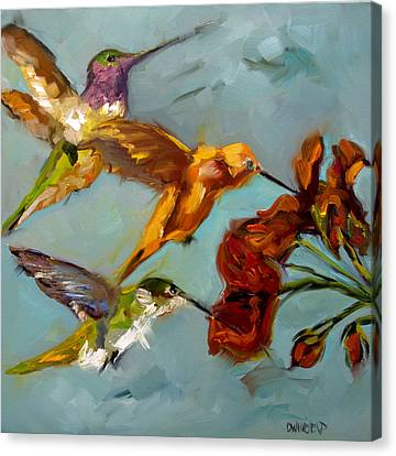 Humming Birds Canvas Print - Kathy's Humming Birds by Diane Whitehead