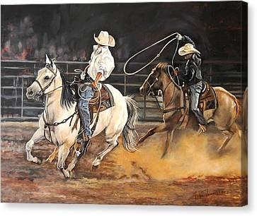 Kat's Cowboys Canvas Print by Leisa Temple