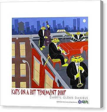 Kats On A Hot Tenement Roof Canvas Print