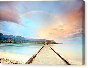 Kauai Hanalei Pier Canvas Print by Monica and Michael Sweet