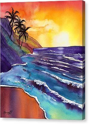 Kauai Na Pali Sunset Canvas Print by Marionette Taboniar