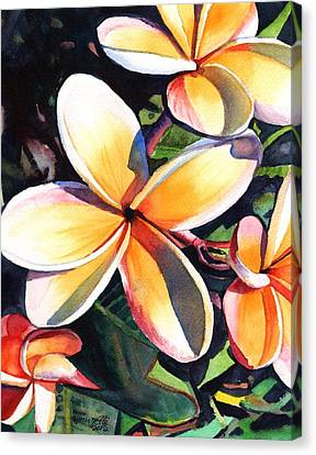 Interior Decor Canvas Print - Kauai Rainbow Plumeria by Marionette Taboniar