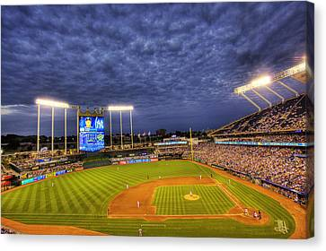 Kauffman Stadium Twilight Canvas Print by Shawn Everhart