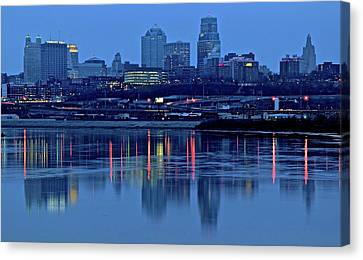 Kaw Point Blue Hour Reflection Canvas Print by Frozen in Time Fine Art Photography
