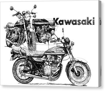 Kawasaki 900 Canvas Print by Ron Patterson