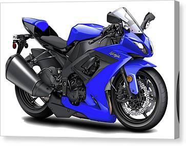 Kawasaki Ninja Blue Motorcycle Canvas Print by Maddmax