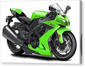 Kawasaki Ninja Green Motorcycle Canvas Print by Maddmax